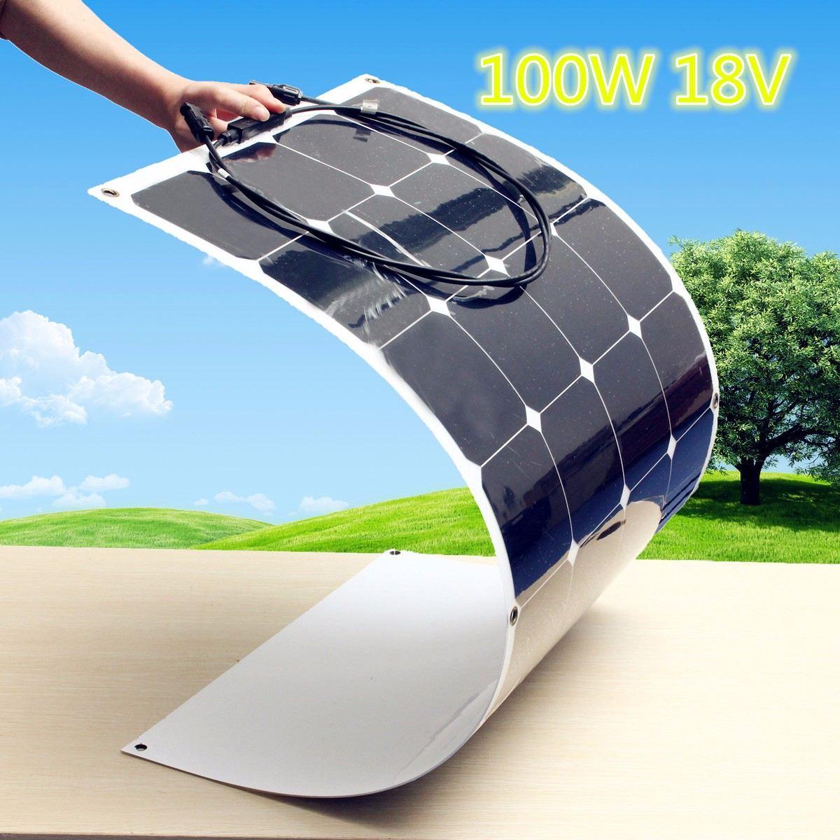KINCO 100W 18V Semi Flexible Monocrystalline Solar Panel Waterproof High Conversion Efficiency For RV Boat Car + 1.5m Cable