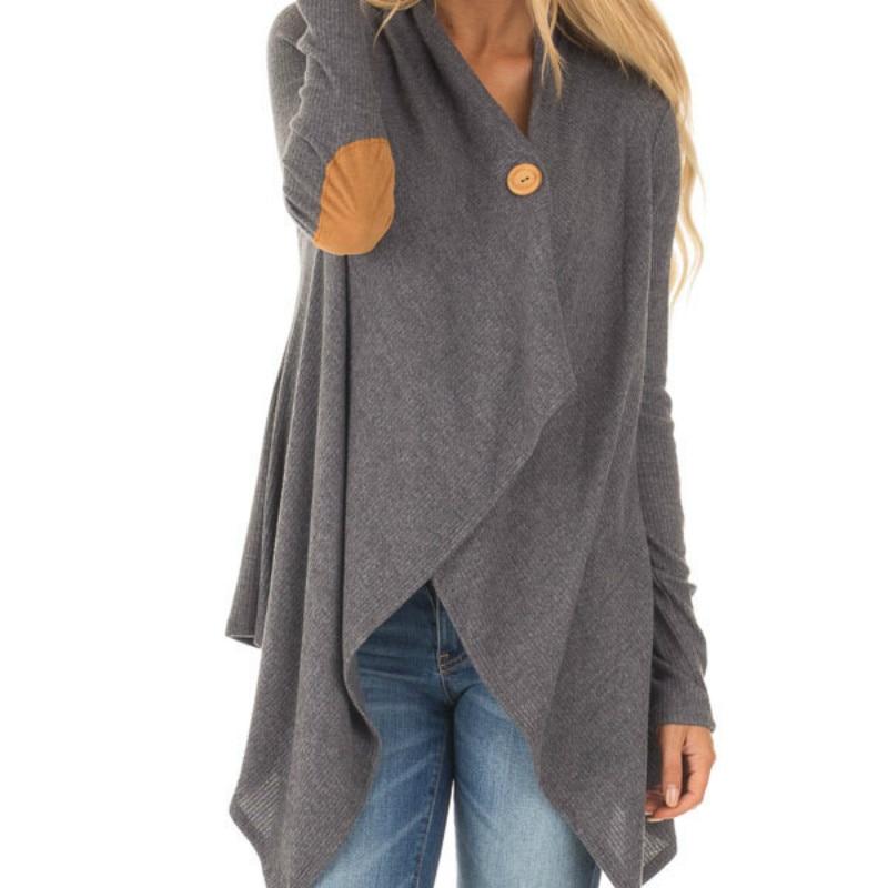 Patchwork Irregular Blusas Women Button Open Stitch Loose Blouse Casual Autumn 2018 Female Long Sleeve Shirt Top Plus Size GV414