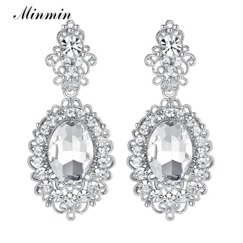 Sincere Minmin Crystal Vintage Jewelry Mirror And Vivid Grape Shape Earrings Silver Color Bridal Long Drop Earrings For Women Eh244 Curing Cough And Facilitating Expectoration And Relieving Hoarseness Jewelry & Accessories