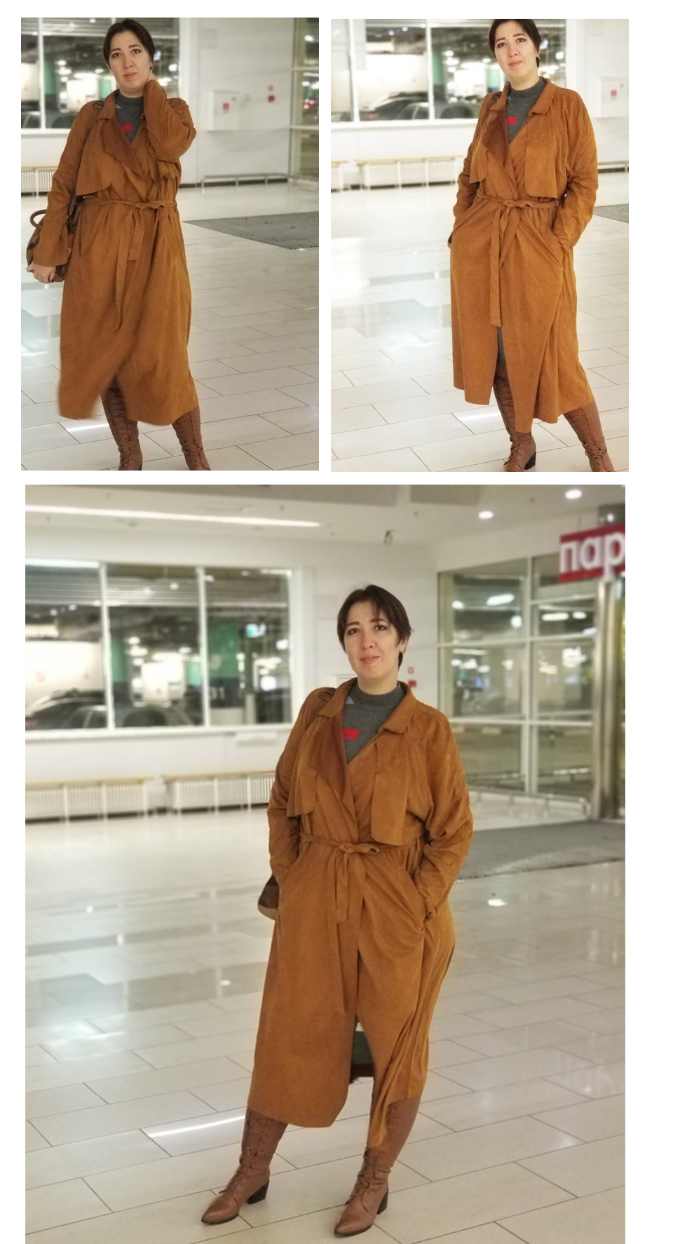 1264356f5f0 SHEIN Brown Plus Size Belted Wide waisted Women Long Suede Trench ...