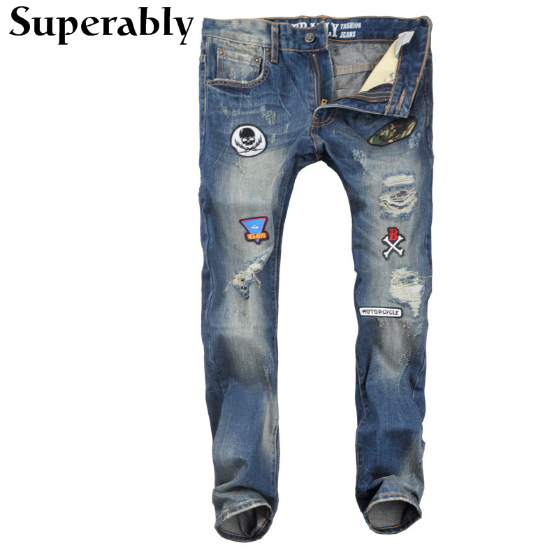 ФОТО Fashion Designer Men Jeans Spliced Badges Blue Color Denim Stripe Jeans Mens Pants Straight Destroyed Ripped Jeans Size 34 36 38