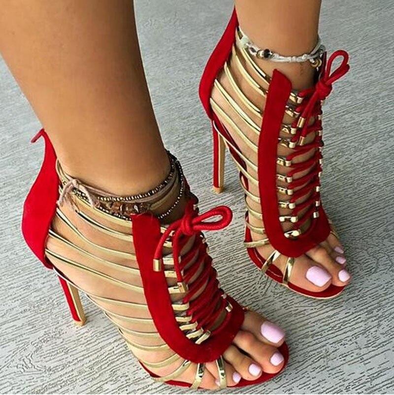 eef2357ca3 Diseño Mujeres Correa Encaje Recortadas Vestido Tacón Nuevo Rojo rojo Gladiador  Negro Oro Sandalias Zapatos Moda ...