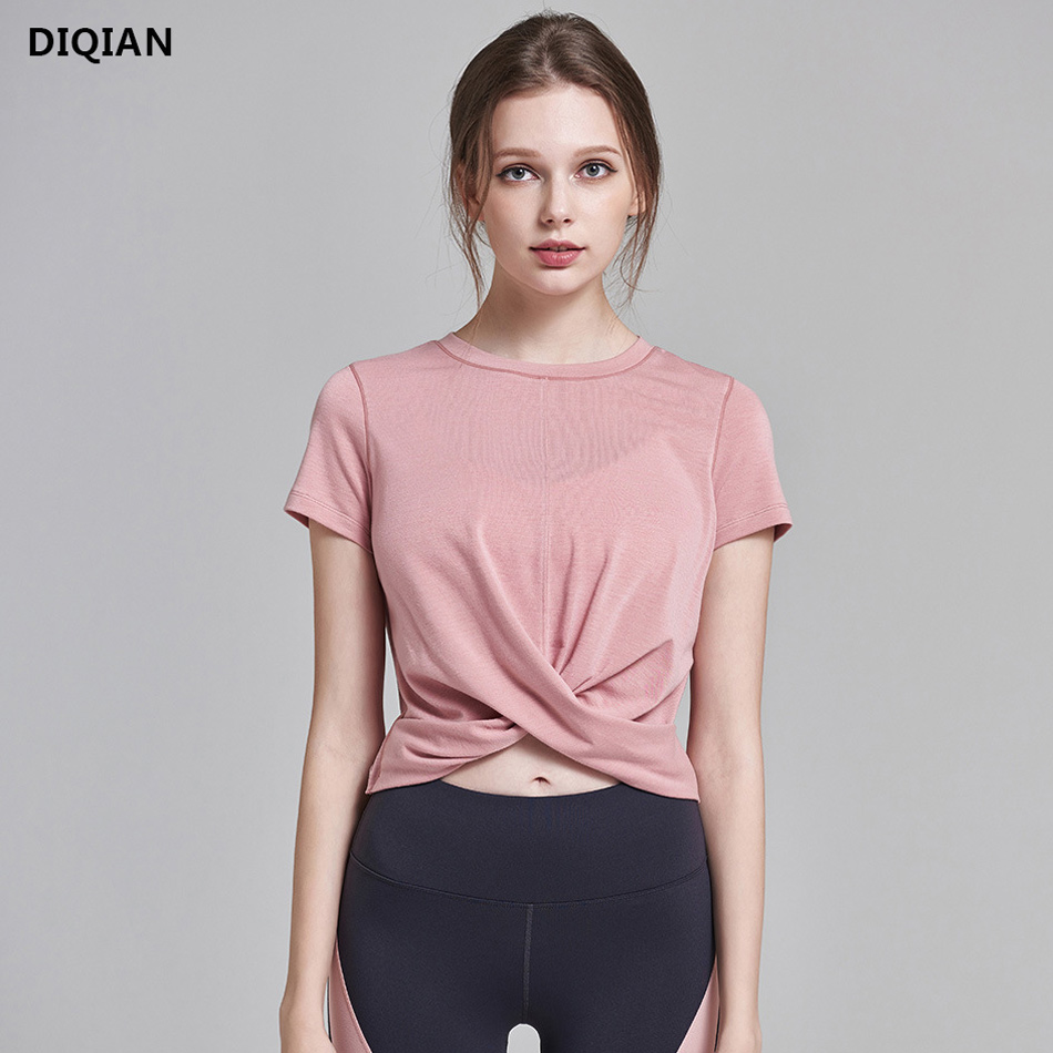 DIQIAN Women Crop Top Yoga Shirts Tank Tops Pink Short Sleeve Sports Tops Loose O-neck Tees Workout Fitness Gym Sportswear