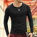 2016 primavera nuevos hombres de la marca lycra modal camisetas de manga larga Camiseta de los hombres que basa la camisa delgada tops sólidos plus tamaño Homme