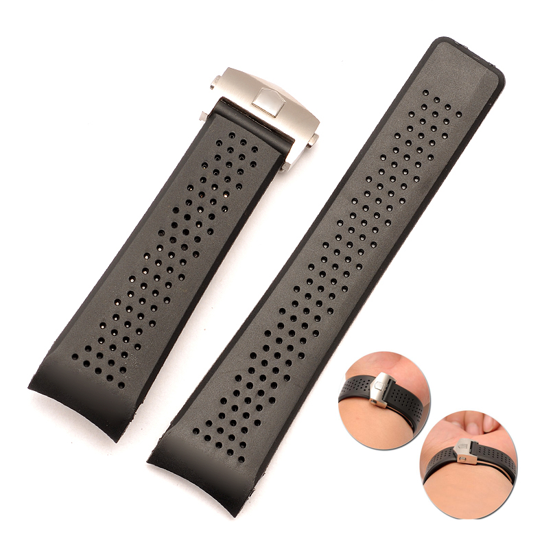 band 22mm 24mm Stainless Steel Silver Deployment Black sport Diving Silicone Rubber Holes Watch Strap For T-A-G WATCH цена