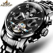 AESOP 빛나는 남자 브랜드 블랙 시계 패션 럭셔리 손목 시계 방수 자동 기계식 시계 Tourbillon 캐주얼 시계