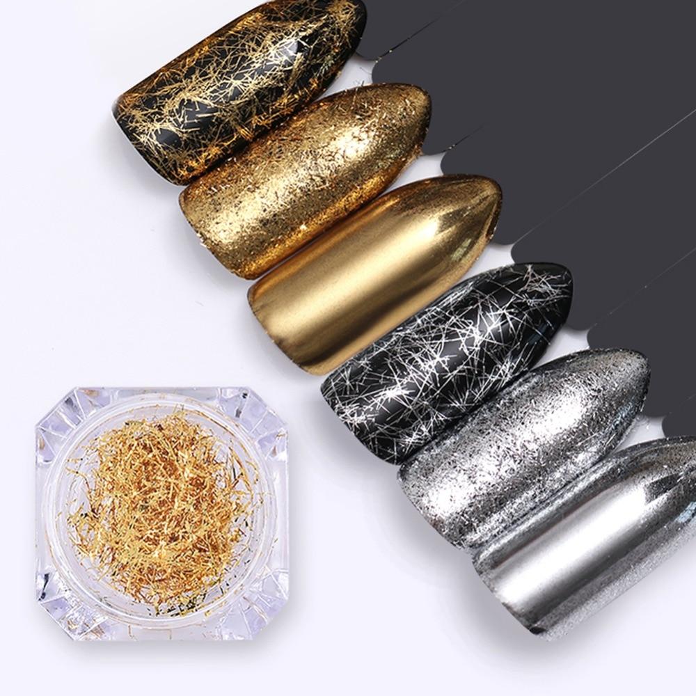 Ny Sølv Golden Metal Line Nail Glitter Flakes Negle Sequins Strip - Negle kunst