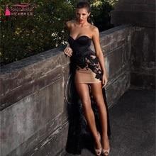 Robe De SoireeShort Vordere Lange Rückseitige Prom Kleider Sexy Lady Spitze Appliques Abendkleid High Low Kleid