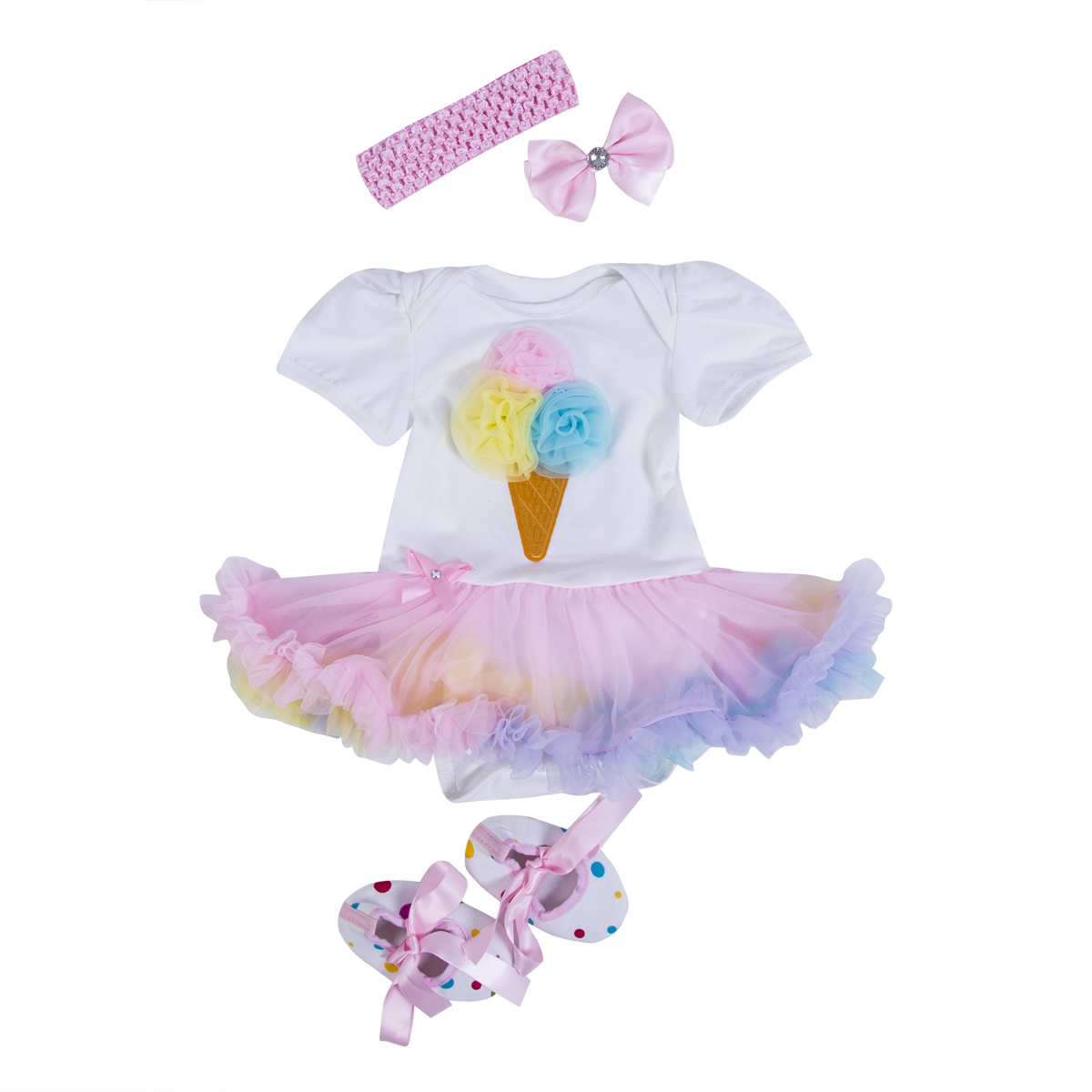 Pudcoco 4pcs Cotton Newborn Girls Clothes Set Tulle Princess Romper +Shoes+headband +hair pin Infant Girl Birthday Costume Gift