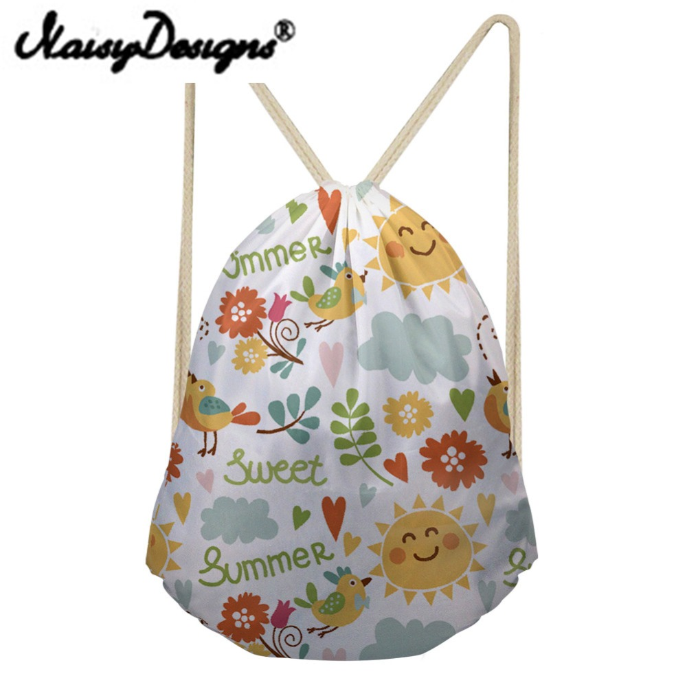 Noisydesigns Cartoon Cute Pattern Printed Drawstring Backpack For Women Lovely Girl's School Bags Unisex Kawaii Summer Mochila