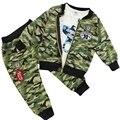 Прохладный мода мальчика девушки детские камуфляж пальто + + брюки свободного покроя наряд 3 шт. костюмы весна осень одежду 4 цветов