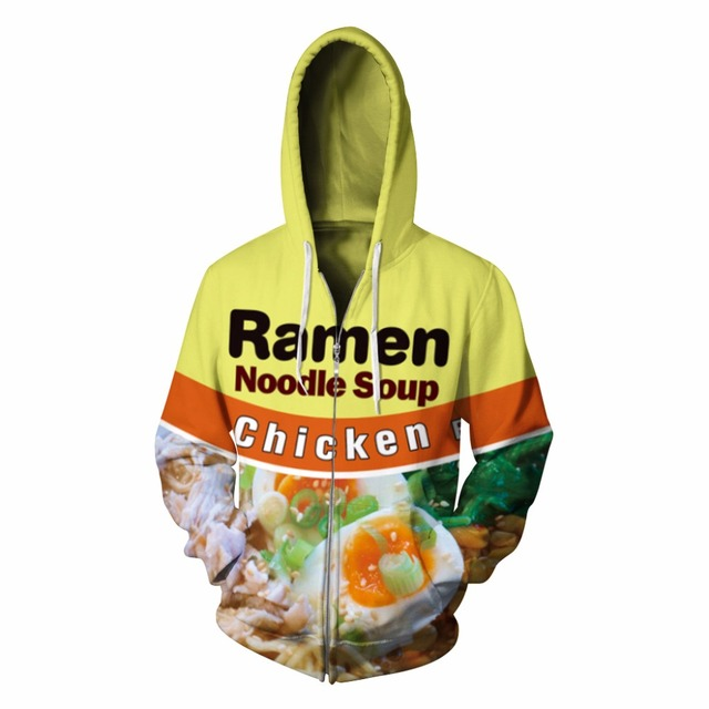 acc7fd255901 Ramen Noodle Soup Hooded Sweatshirt Zipper Jacket Velvet 3D Printed Chicken  Letter Hoodies Men Women Jumper Tracksuit Sweater
