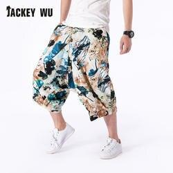JACKEYWU широкие шаровары с низкой слонкой брюки Для мужчин 2019 Этническая Стиль печатные цветы белье дышащий Подрезанные штаны Повседневное