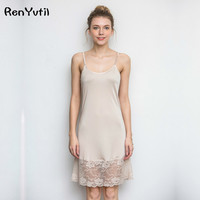 RenYvtiI Hight Quality 100 Silk Brand Women Nightgowns 2017 Ladies Short Sexy Embroidery Lace Sleep Camis
