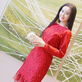 2017 spring summer fashion casual Net yarn red dress  elegant korean dress women vestido