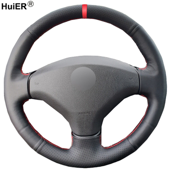 HuiER Hand Sewing Car Steering Wheel Cover Funda Volante For Old Peugeot 408 2012 2013 2014