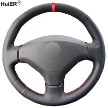 HuiER Hand Sewing Car Steering Wheel Cover Funda Volante For Old Peugeot 408 2012 2013 2014 Peugeot 308 2007-2013 Automobile
