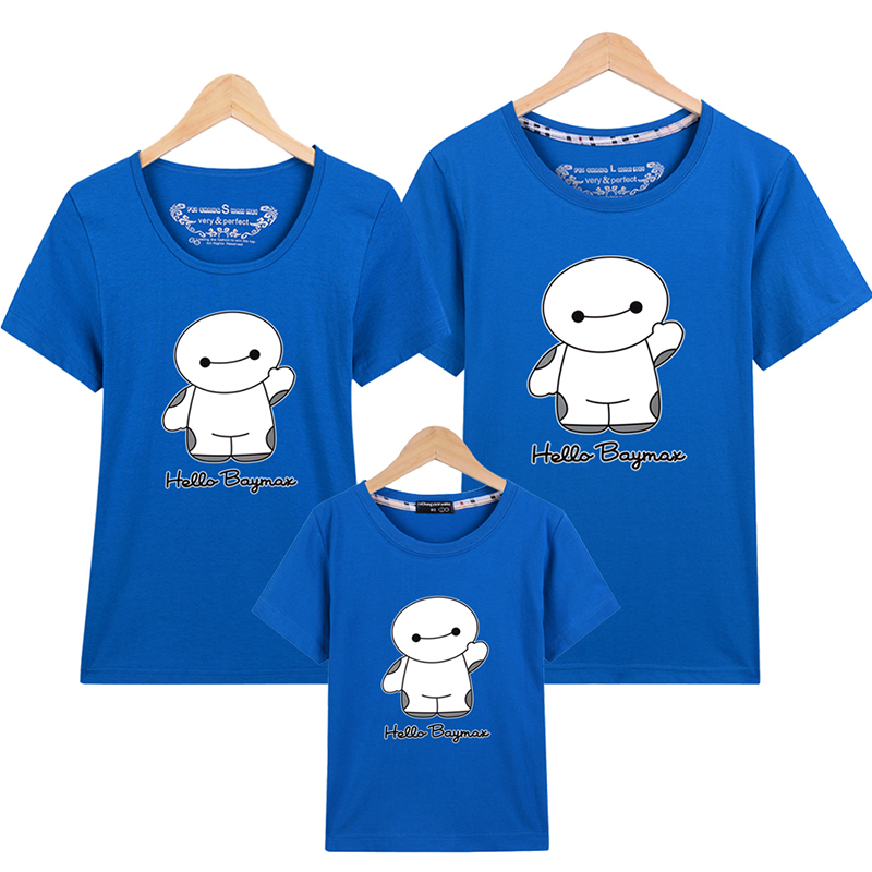 Mommy And Me Family Tshirt Cartoon BIG HERO Ropa Mama E Hija 16 Colors Family Matching Clothes Father Mother And children
