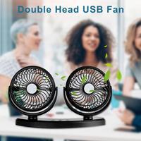 360 Degree All Round Adjustable USB Car Auto Air Cooling Dual Head Fan Low Noise Car Auto Cooler Air Fan Car Fan Accessories