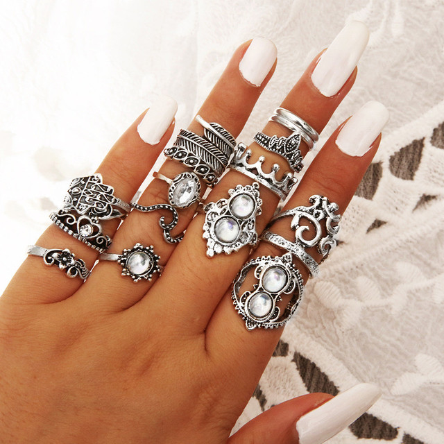 brixini.com - The Moon & Stars Bohemian Alloy Ring Set 16PCS
