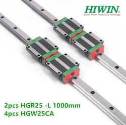 2 sztuk Hiwin szyna liniowa hgr25-l 1000mm + 4 sztuk HGW25CA HGW25CC prowadnica liniowa blok łożyska CNC
