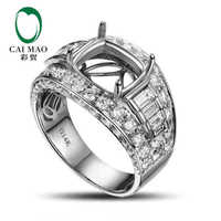 CaiMao Cushion Cut Semi Mount Ring Settings 2 3ct Diamond 14k White Gold Gemstone Engagement Ring