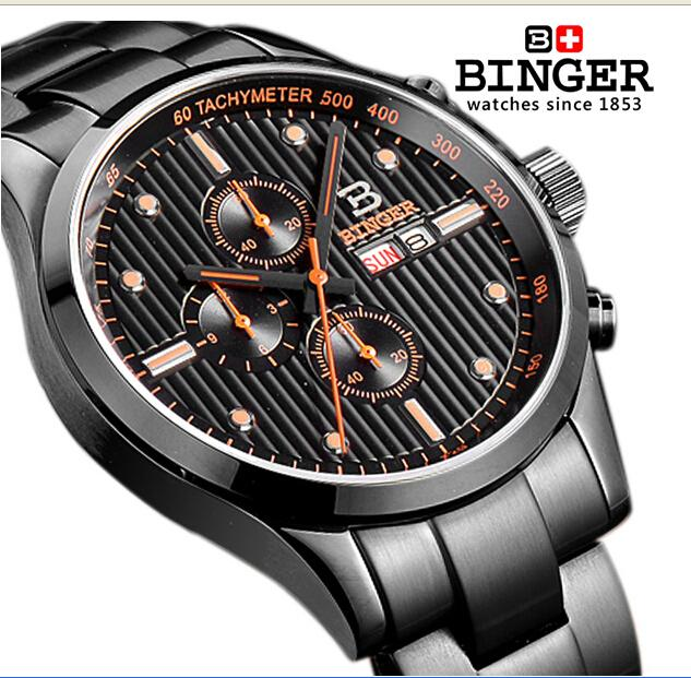 Switzerland watches men luxury brand Wristwatches BINGER Quartz full stainless male watch steel waterproof 100M BG-0401-2