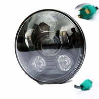 Motorcycle H4 High And Low Beam Bicycle 5 75 Round Black Chrome Led Head Light Lamp