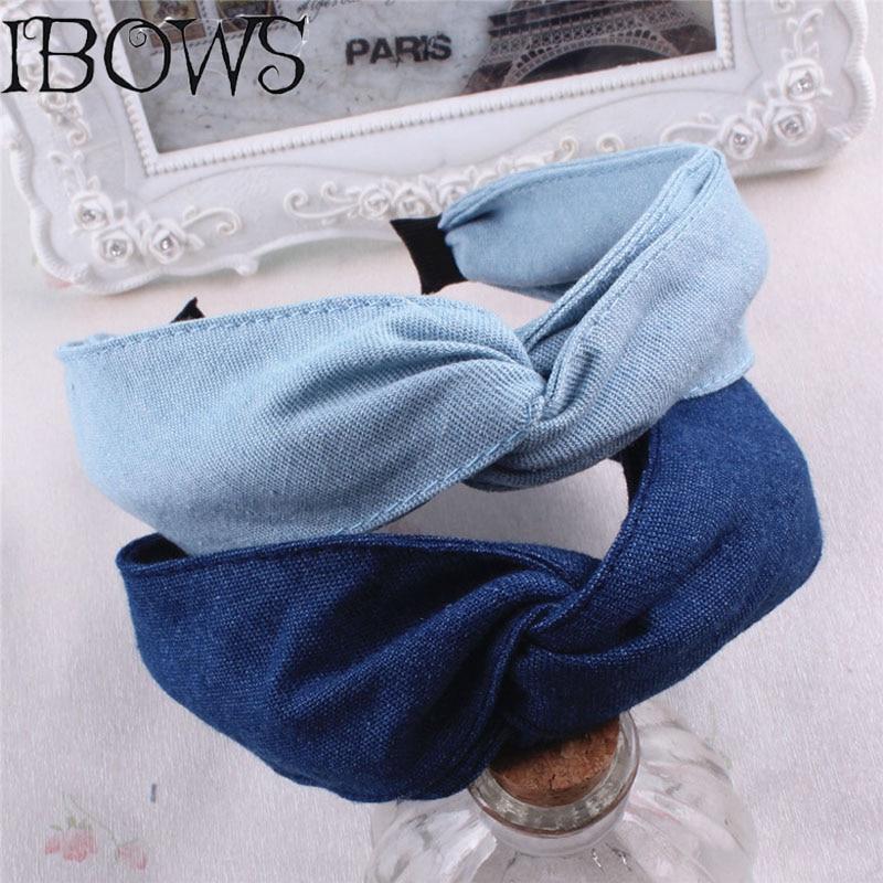 Blue Jeans Twisted Hairbands Handmade Denim Cloth Leisure Headbands For Women Girls Boutique   Headwear   Hair Accessories