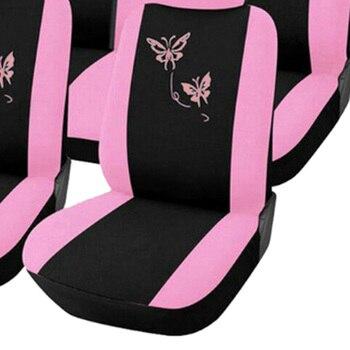 Universel Mode Style Ensemble Complet Papillon Siège De Voiture Protecteur Auto Intérieur Accessoires Automobile Violet/rose Housse De Siège De Voiture