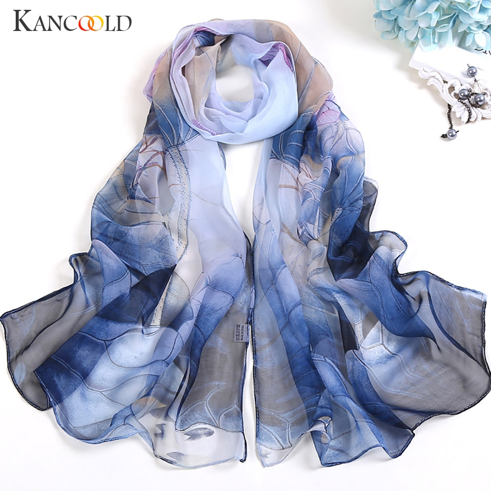 KANCOOLD Scarf Women High Quality Fashion Lotus Printing Long Soft Wrap Scarves Ladies Shawl Chiffon Scarf Women 2018Nov2