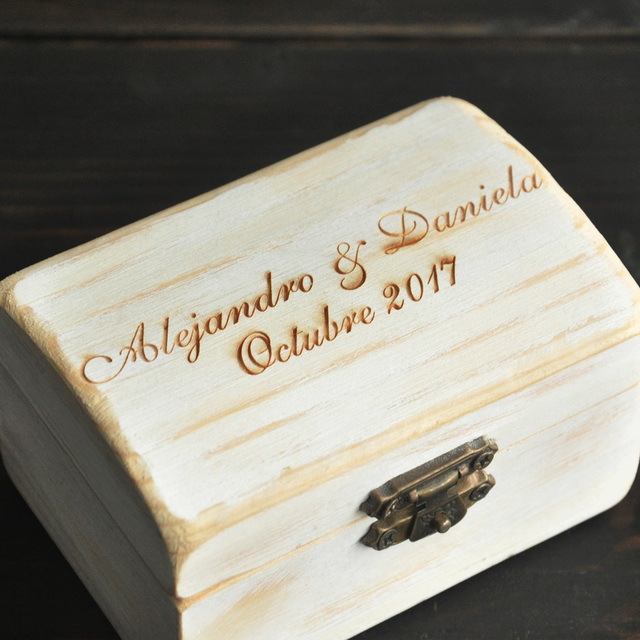 Rustic Personalized Wedding Ring BoxWooden Ring Bearer Box