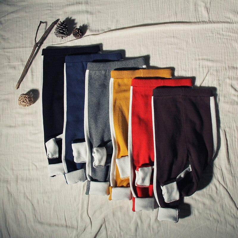 56cd172f64430 Enfants enfants Rétro sport pantalons Printemps automne hiver chaud coton  tricoté pantalon bébé pantalon Stretch côté vertical bar