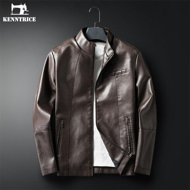 US $29.99 40% OFF  : KENNTRICE Herren Pu Leder Jacke Dünne Koreanische Einfache Zipper Leder Mantel Männer Neue Herbst Casual Jugend