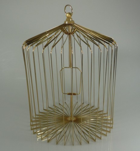 Gold Steel Appearing Bird Cage - Large size (dove appearing cage), magic tricks,illusions,card tricks novelties
