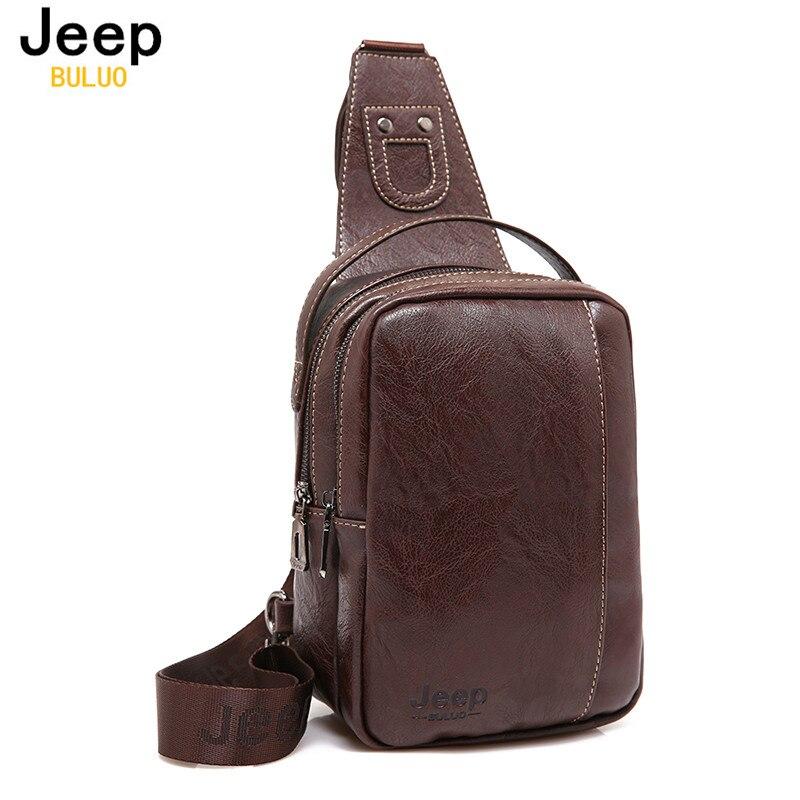 JEEP BULUO Brand Fashion Men Messenger Bags Leather Handbag Cross Body Shoulder Chest Bags Packs Water Shape Canvas 4Colors 9098