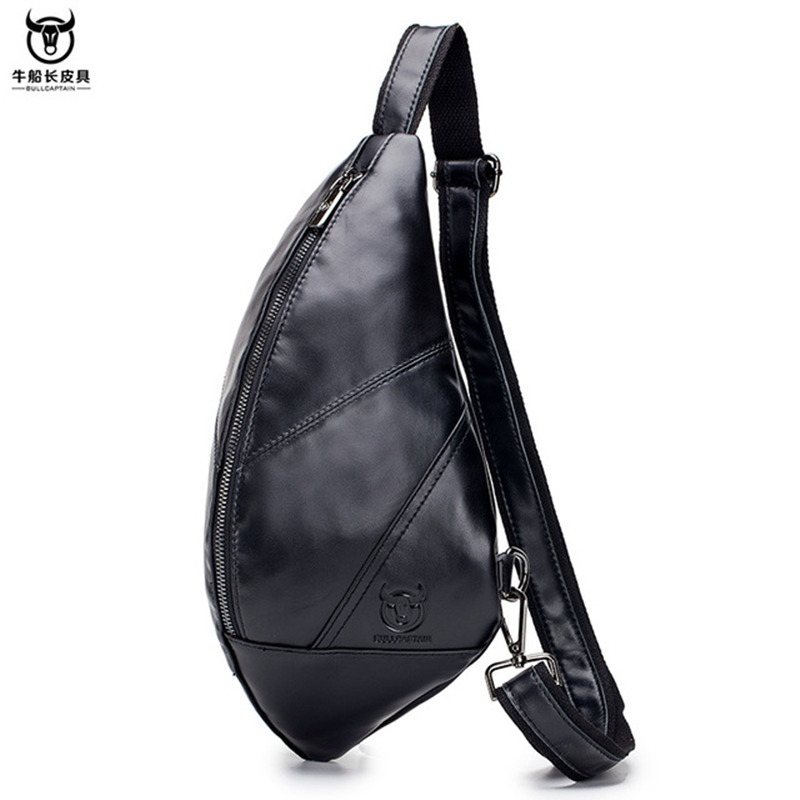 Male Genuine Leather Chest Bags Small Cross Body Handbag Triangle Messenger Shoulder Zipper Bags Business Man Travel Gift