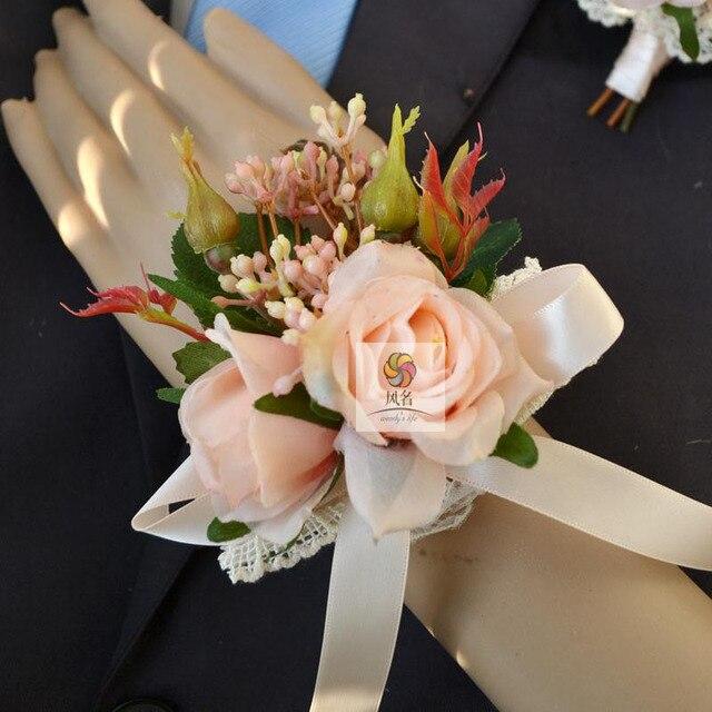 4 Pcs Lot 100 Handmade Silk Rose Artificial Wedding Flower Bridegroom Guest Brooch Boutonniere
