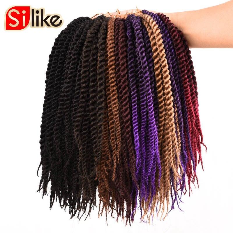 Silike 24 Roots Crochet Braids Senegalese Twist 10 inch Crochet Twist Braid Hair For kids Crochet Braiding Hair 9 Colors 1 Pack
