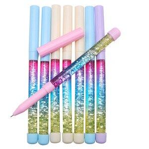 Image 4 - 50 pcs Cute gel pen 0.5mm Fairy Stick Ballpoint Pen Drift Sand Glitter Crystal Pen Rainbow Color Creative Ball Pen Kids Glitter