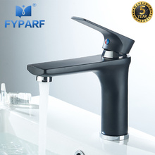 цена на FYPARF Bathroom Faucet Black Basin Mixer Tap Brass Hot and cold Water Faucet Basin Faucet Single Handle Bathroom Sink Tap Crane
