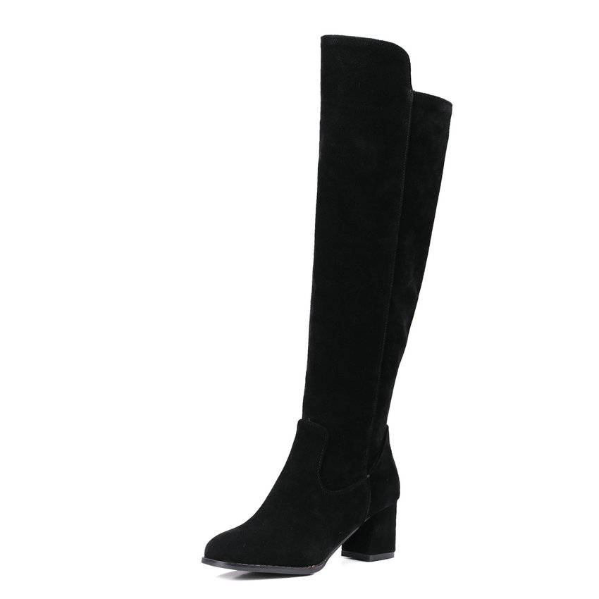 size 34-43 Elegant Scrub 2016 Knee High Boots PU leather Square High Heel Round Toe Women Shoes Boots Shoes Sown Boots цены онлайн