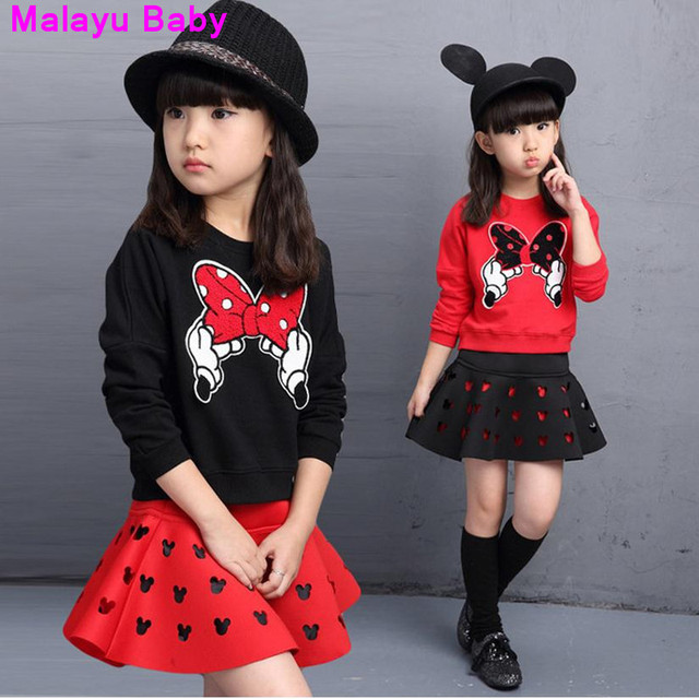 Malayu Baby  latest autumn fashion girls both hands bow patch sweater + hollow piece fitted skirt anime cartoon suit for 3-8 Y