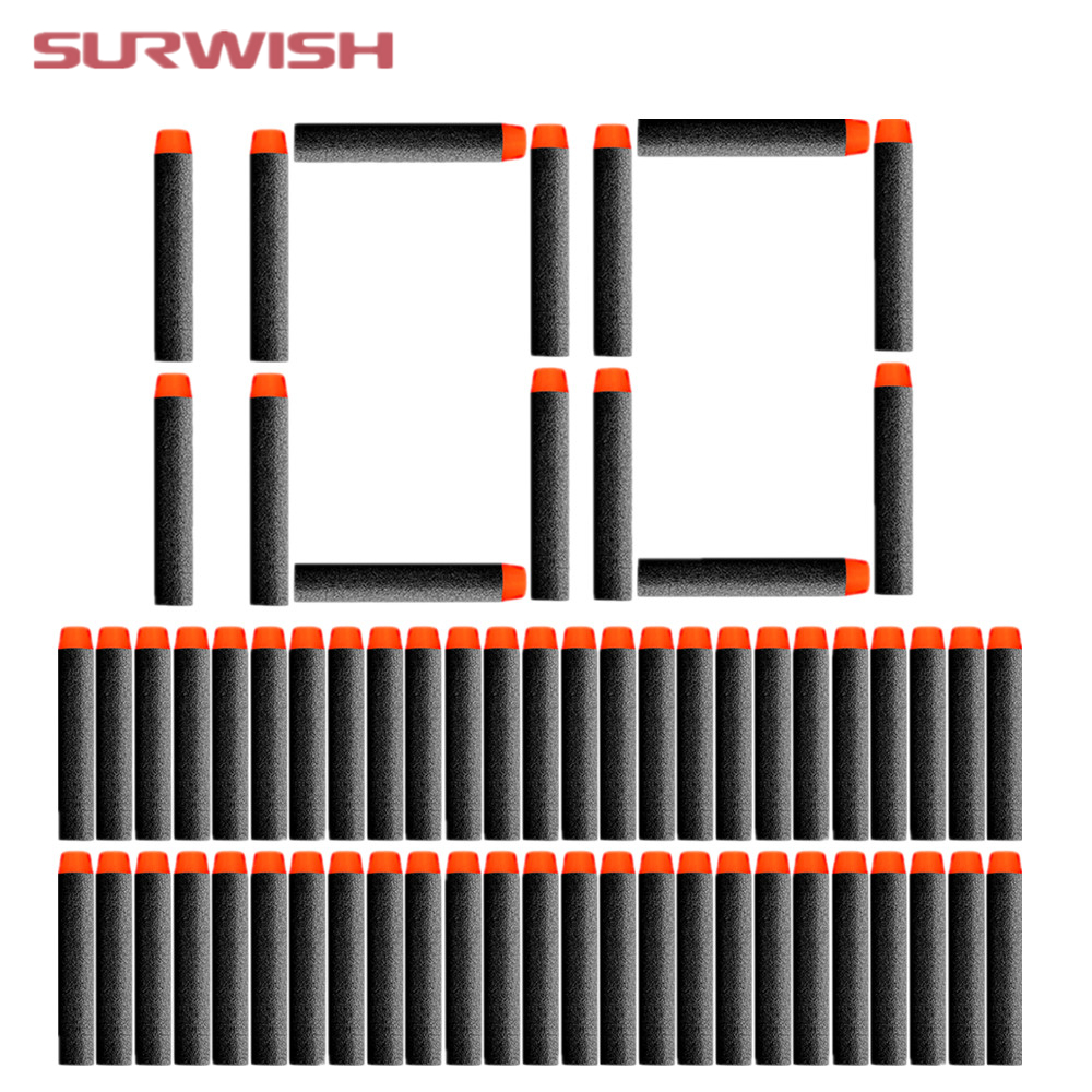 Surwish 100 pcs Fluorescence Dart Refills Universal Standard Round Head Hollow Foam Bullets for Nerf Toy Gun