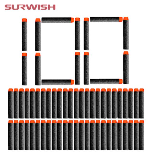 Surwish 100 pcs Fluorescence Dart Refills Universal Standard Round Head Hollow Foam Bullets for Nerf Toy Gun