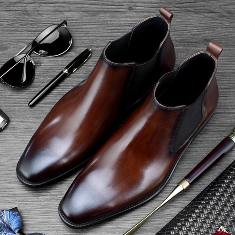 New Classic Fashion Man Handmade High-Top Office Shoes Genuine Leather Round Toe Men's Cowboy Riding Chelsea Ankle Boots SS400