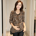 Hot! Fashion Leopard Loose Pregnancy Clothes For Pregnant Women Long Sleeve Cotton Maternity Clothing ropa embarazada 9666-1