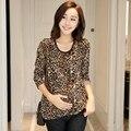Hot! moda Leopard Soltas Gravidez Roupas Para Mulheres Grávidas Maternidade Roupas de Manga Comprida de Algodão ropa embarazada 9666-1
