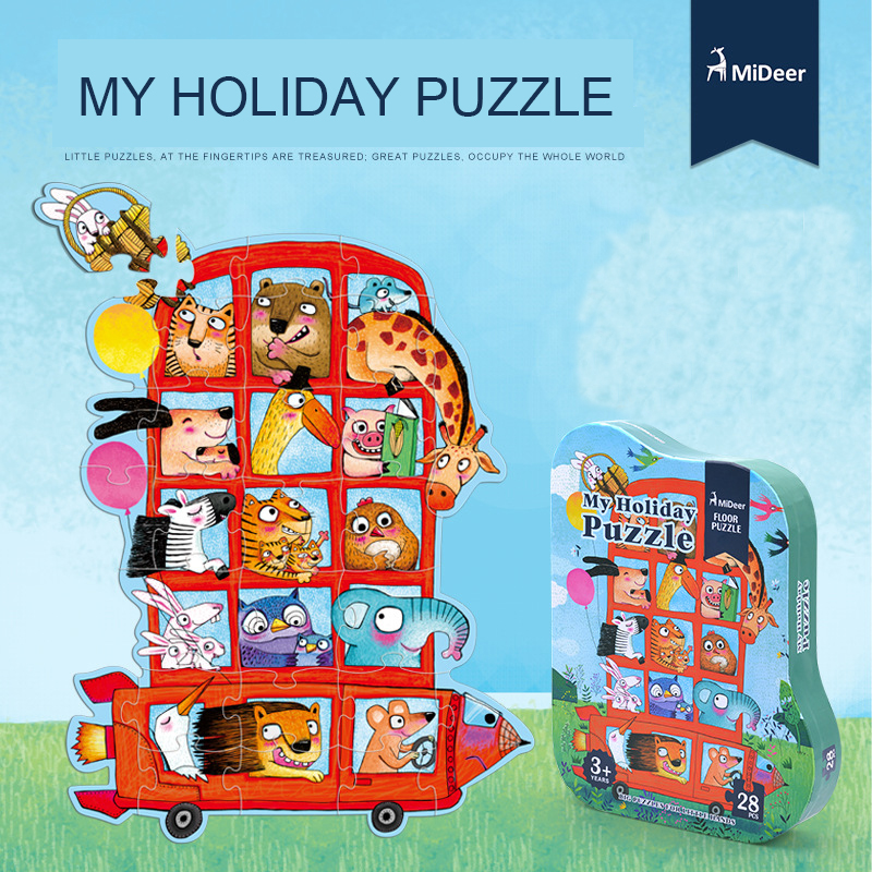 Mideer Children Floor Puzzle My Holiday Big Puzzle Baby Creative animal bus puzzle shaped Paper Jigsaw Puzzle Kids Gifts