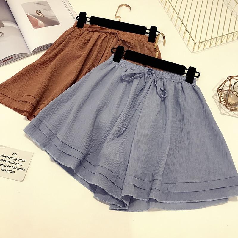 2018 Summer New Female Layer Ruffles Lace-up Waist Chiffon Shorts Women's  Flounced Wide Leg Shorts Solid Color